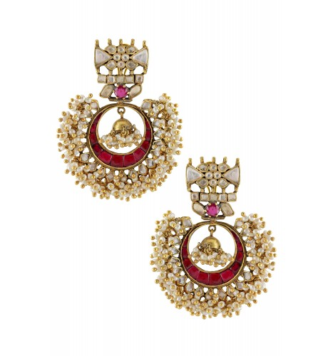 Silver Gold Plated Pearl Cluster Crystal Jhumki Crescent Earrings