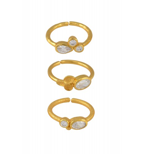 Gold Plated Zircon Triple Ring Set
