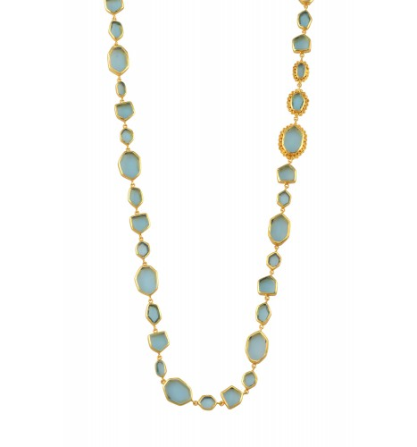 Gold Plated Green Glass Studded Necklace