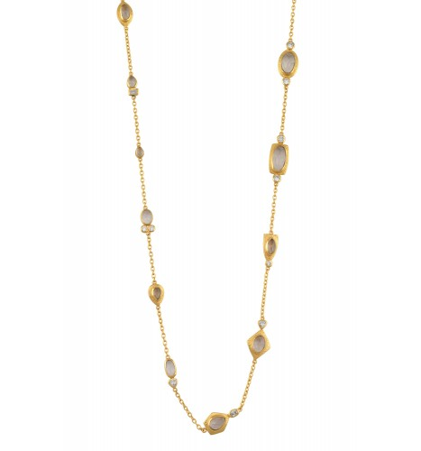 Gold Plated Zircon Multi Embellishment Necklace