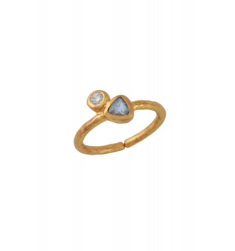 Gold Plated Round Triangle Zircon Labradorite Ring