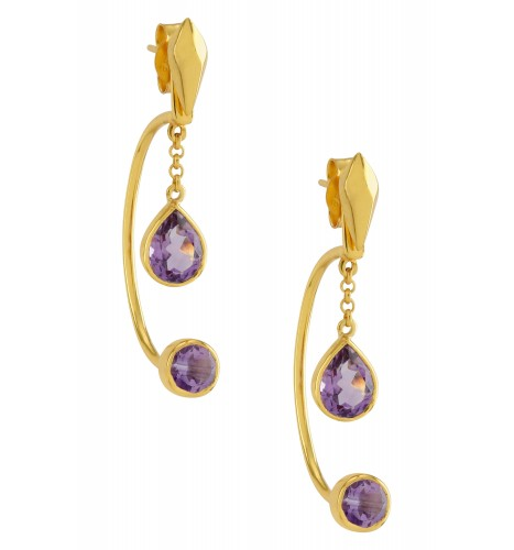 Silver Gold Plated Amethyst Front Back Earrings