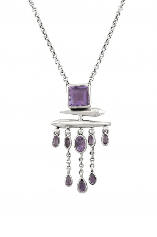 Silver amethyst square drop pendant necklace aloadofball Image collections