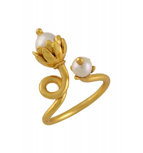 Silver Gold Plated Twisted Pearl Ring