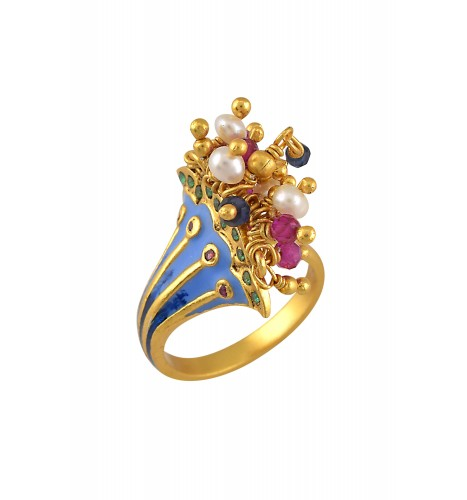 Silver Gold Plated Enamelled Fan Cluster Ring
