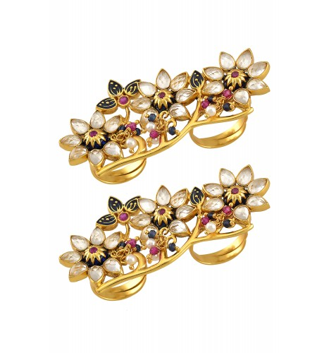 Silver Gold Plated Floral Crystal Enamelled Toe Ring