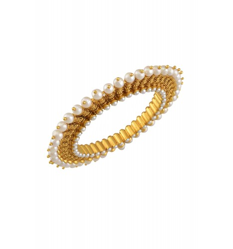 Silver Gold Plated Pearl Citrine Bud Bangle
