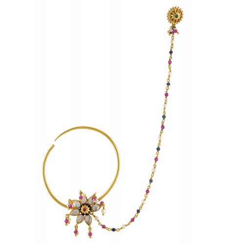Silver Gold Plated Floral Crystal Multi Colored Nosepin
