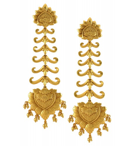 Silver Gold Plated Leafy Lotus Drop Earrings