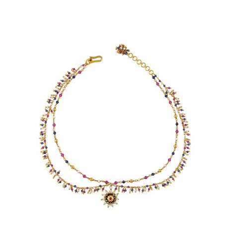 Silver Gold Plated Multi Glass Pearl Flower Choker