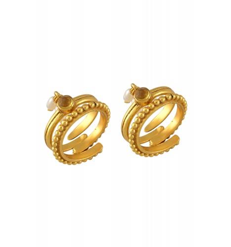 Silver Gold Plated Citrine Pearl Rawa Toe Ring