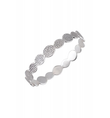 Silver Plated Textured Dotted Bangle