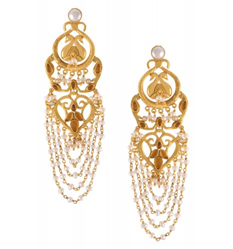 Silver Gold Plated Peacock Citrine Pearl Multistrand Earrings