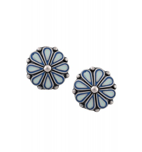 Blue Enamel Flower Ear Studs