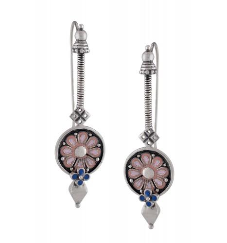 Pink Enamel Coin Earrings