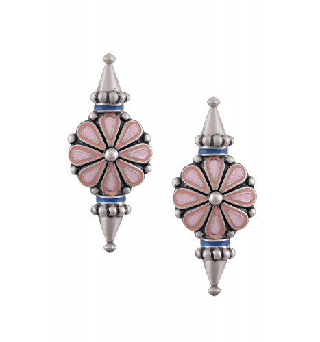 Pink Enamel Flower Ear Studs With Spikes
