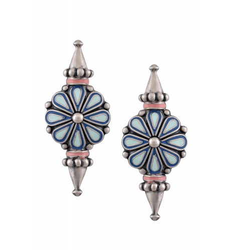 Blue Enamel Flower Ear Studs With Spikes