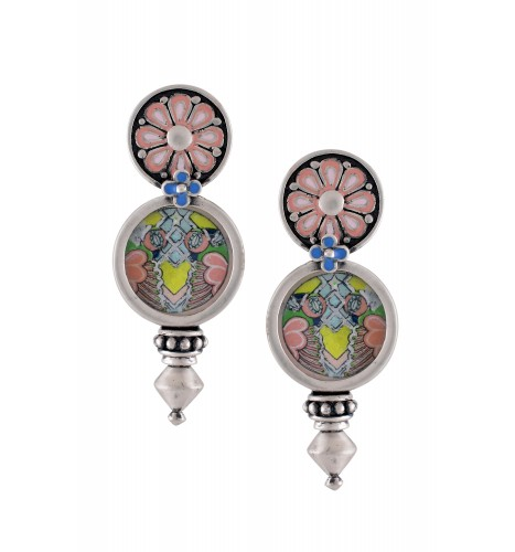 Hand Painted Pink Enamel Coin Earrings