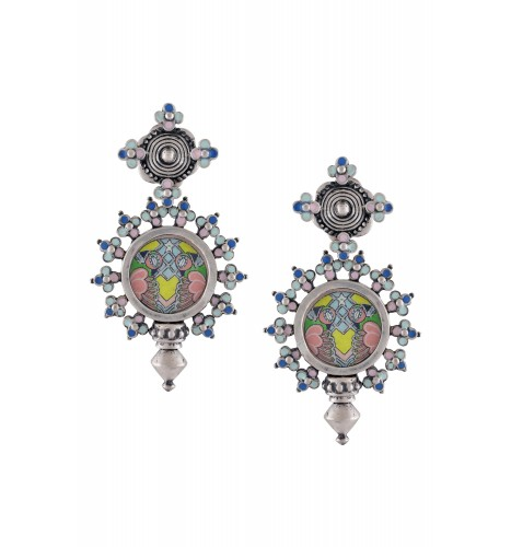 Hand Painted Multi Enamel Coin Earrings