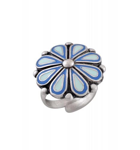 Blue Enamel Flower Ring