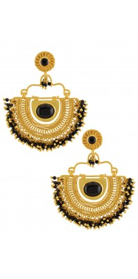 Silver Gold Plated Black Crescent Filigree Earrings
