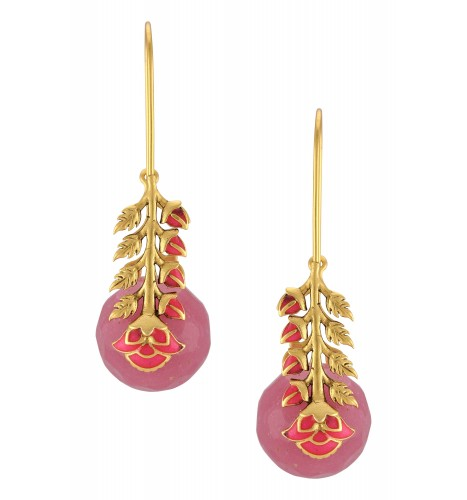 Gold Plated Pink Ball Leafy Earrings