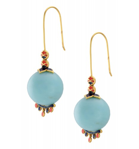 Gold Plated Aqua Ball Floral Charms Earrings