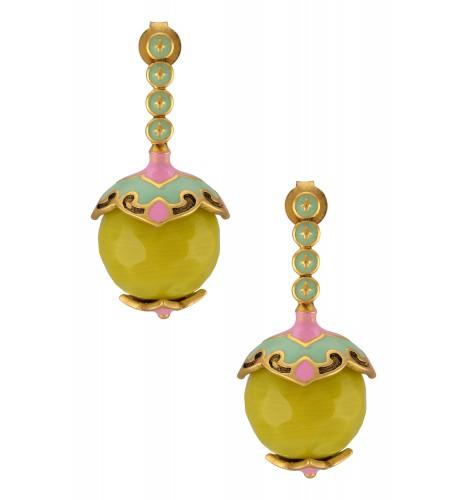 Gold Plated Lemon Ball Enameled Earrings