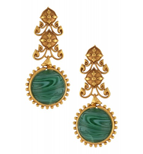 Gold Plated Green Ball Floral Earrings