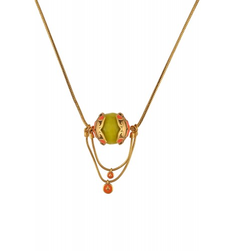 Gold Plated Lemon Ball Enameled Floral Chain Drop Pendant Necklace