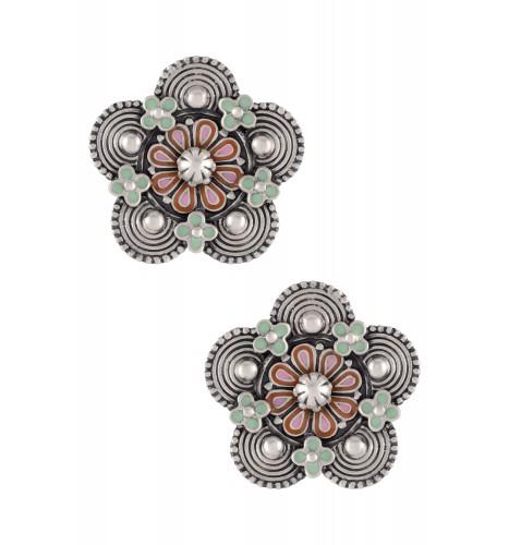 Pink Green Enamel Flower Coin Ear Studs