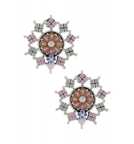Multi Enamel Flower Square Charm Ear Studs