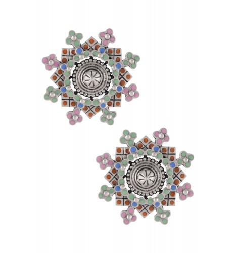 Multi Enamel Coin Flower Ear Studs