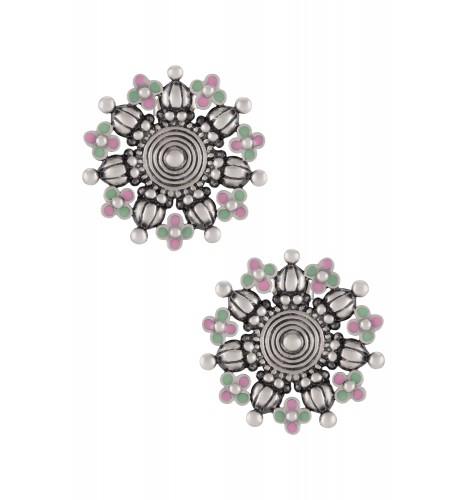 Pink Green Enamel Coin Flower Ear Studs