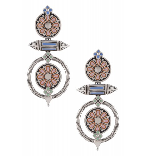 Multi Enamel Flower Taveez Earrings