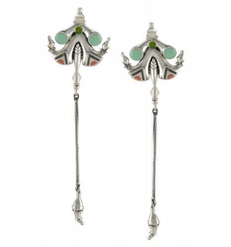 Green Enamel Pagoda Tassel Earrings