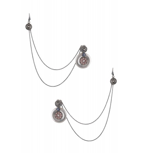 Talisman Earrings with Hair Chain