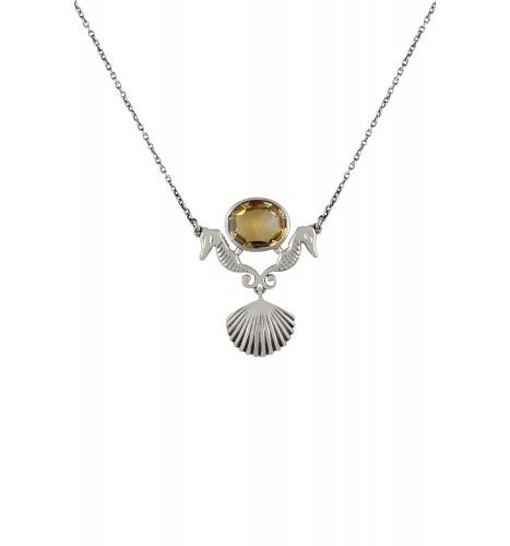 Silver Sea Horse Shell Motif Citrine Pendant