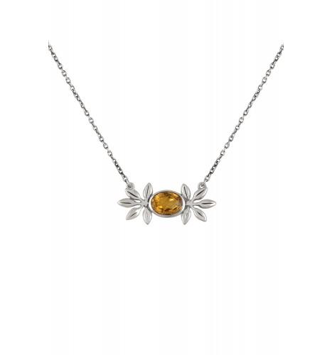 Silver Citrine Flower Pendant