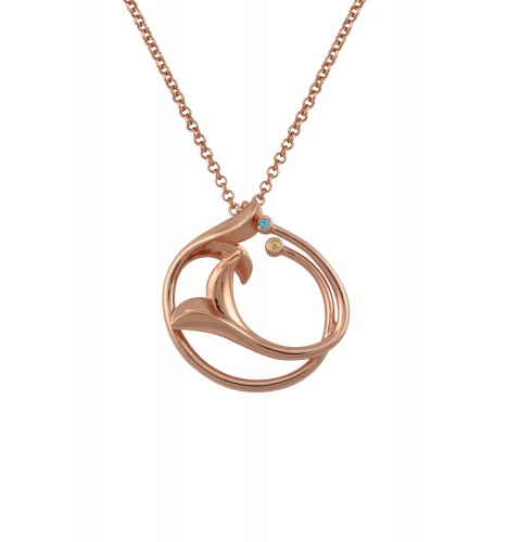 Silver Rose Gold Plated Double Leafy Pendant Necklace