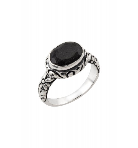 Silver Black Onyx Floral Carved Ring
