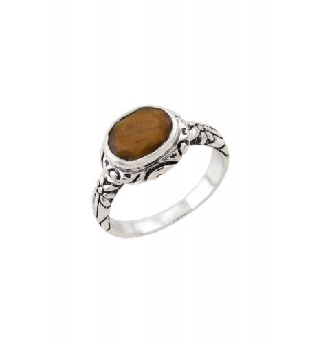 Silver Tiger Eye Floral Carved Ring