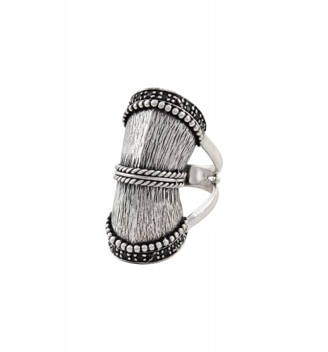 Silver Textured Barrel Ring