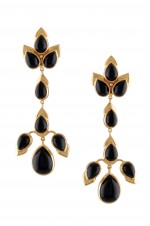 Tribebyamrapali-Silver Gold Plated Black Onyx Pear Earrings