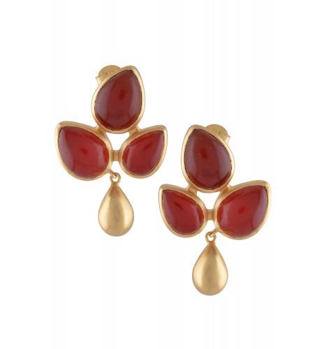 Silver Red Onyx Leaf Earrings