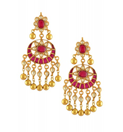 Silver Gold Plated Floral Pink Glass Crystal Drop Earrings