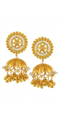 Silver Gold Plated Traditional Floral Pearl Jhumka