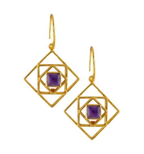 Silver Gold Plated Amethyst Square Earrings