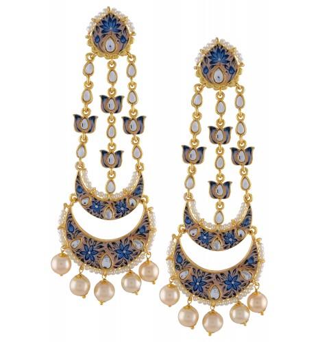 Gold Plated Blue Enamelled Lotus Pearl Moon Earrings