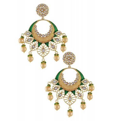 Gold Plated Green Jaali Glass Pearl Drop Earrings